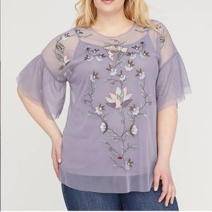 NWT Lane Bryant Embroidered Sheer Overlay Blouse